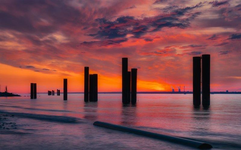 пейзаж,море,закат,залив,вечер,город, Финский залив.photo preview