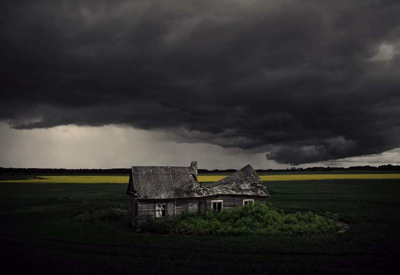 Clouds, sky, storm, house, field, Lithuania *photo preview