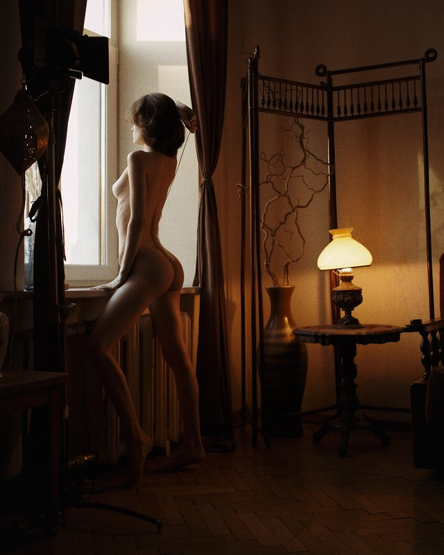 girl, nude, at home, naked, natural light, lamp, saint-petersburg, spb, at home, noise, light, dark Carthagephoto preview