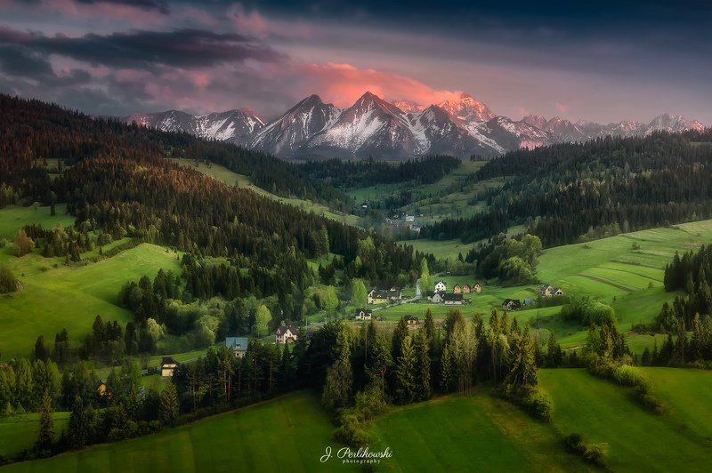 tatra, tatra mountains, mountains,spring, spring vibes, fields, green, sunset,landscape Spring in the mountainsphoto preview