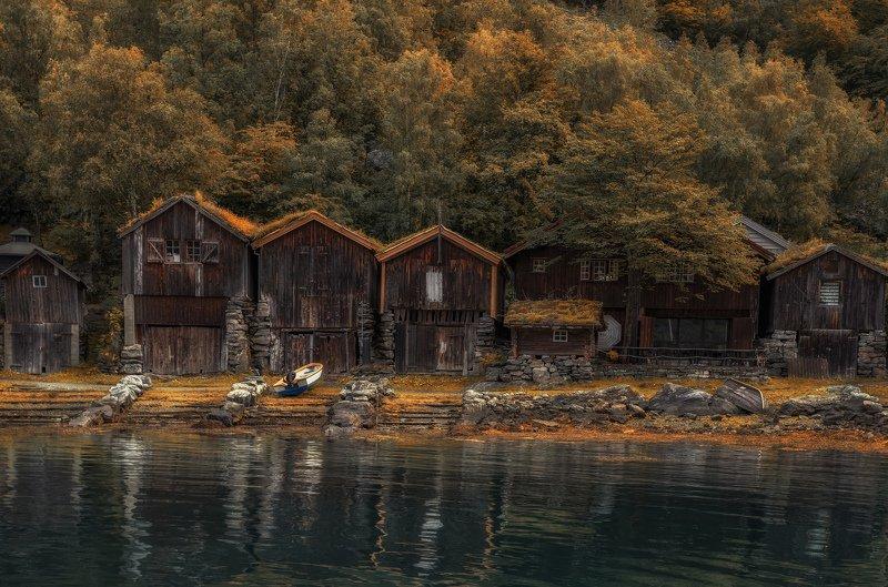 домики, лодка, норвегия рыбацкиеphoto preview