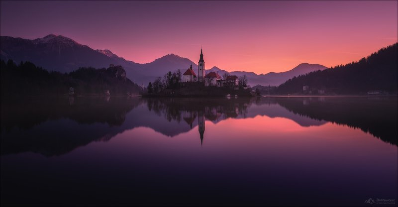 словения, озеро блед, альпы, slovenia, bled lake, church of the mother of god, church of mary the queen, pilgrimage church of the assumption of mary,blejsko jezero, bleder see, veldeser see, julian alps , upper carniolan, parish church of st.martin,alps Пока не встало солнце ..photo preview