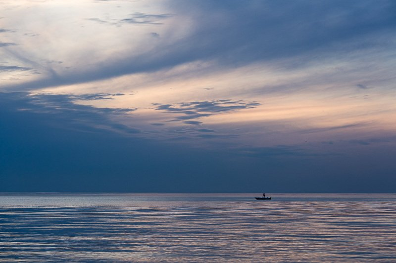 sea,clouds,fisherman,blue,sunset, photo preview