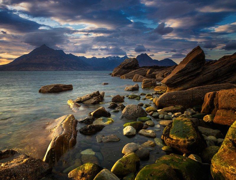 elgol,skye,isle of skye,scotland,scottish,landscape,seascape,shore,shoreline,mountains,rocks,rocky,stone,colorful Golden hourphoto preview
