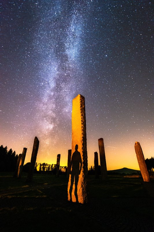 night, landspae, nature, milkyway, stars, shadow, light, person, silouette The Visitorphoto preview