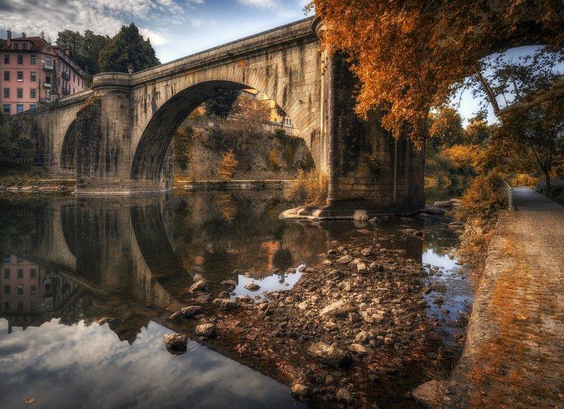 отражение, мост, река мостphoto preview