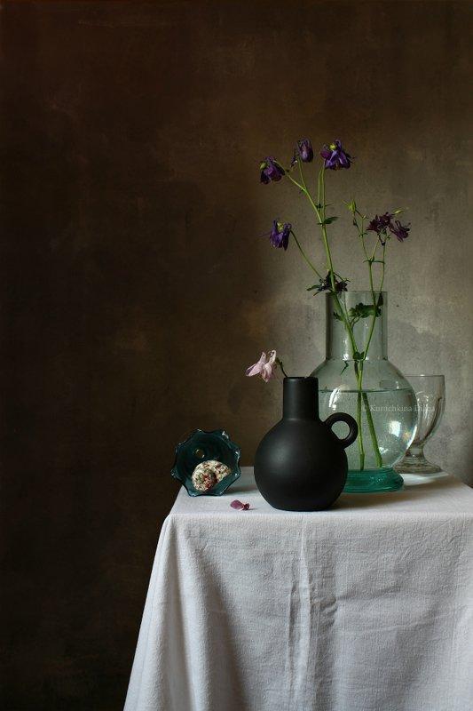 натюрморт, цветы, аквилегия, водосбор, стекло *photo preview