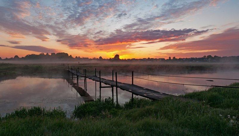 утро, свислочь, туман, мостик, пейзаж По узенькому мостику...photo preview