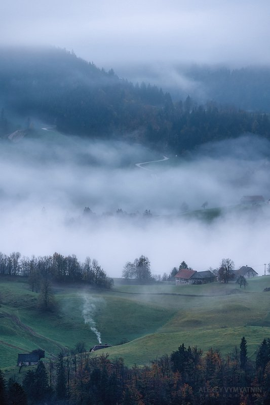 slovenia, fog, morning, village, foggy, slovenian На рассвете фото превью