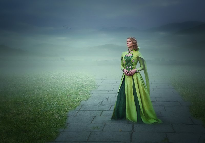 девушка, поле, туман, цветы *****photo preview
