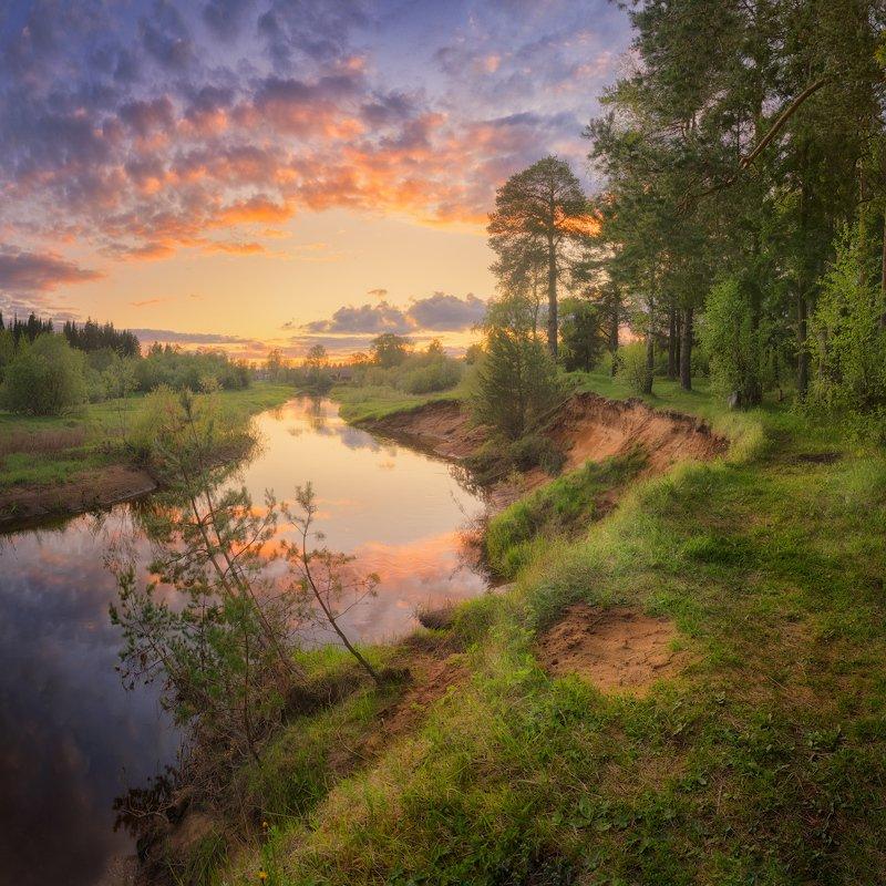 закат, река, весна Закатные краски майского небаphoto preview