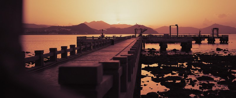china, beach, sanya, sunrise, pier, mountains, sun, morning, travel Violet sunphoto preview