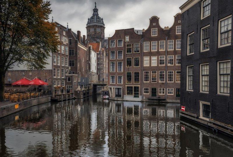 канал, дома, отражение Amsterdam dampphoto preview