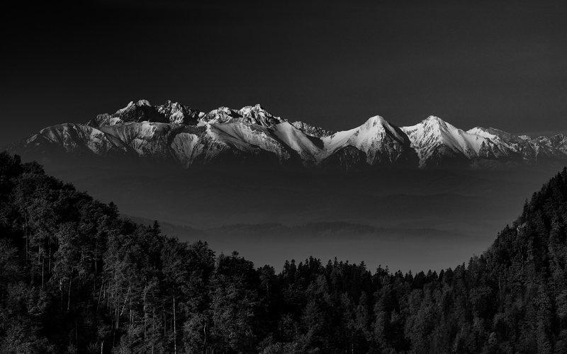 black & white, nature, landscape, pieniny, sokolica, dark, Tatryphoto preview