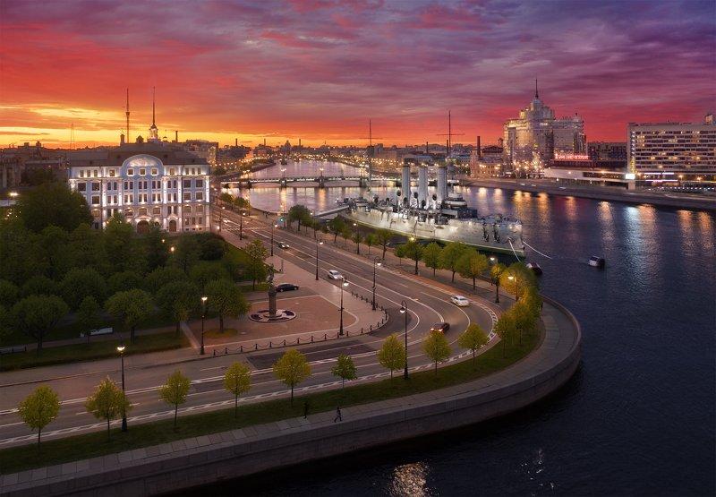 Аэросъемка, город, питер, пейзаж Закат у Петровской набережнойphoto preview