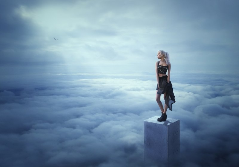девушка, облака *****photo preview