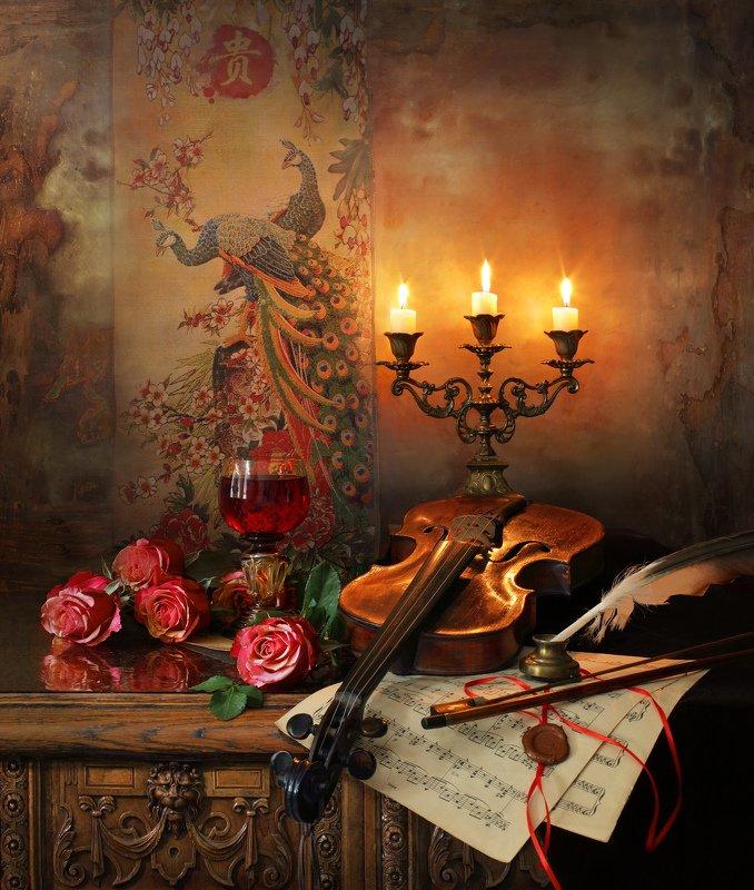 скрипка, натюрморт, музыка, цветы, розы, свечи Натюрморт со скрипкой и розамиphoto preview
