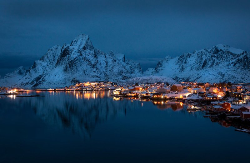 night, cold, winter, village Night in the Reinephoto preview