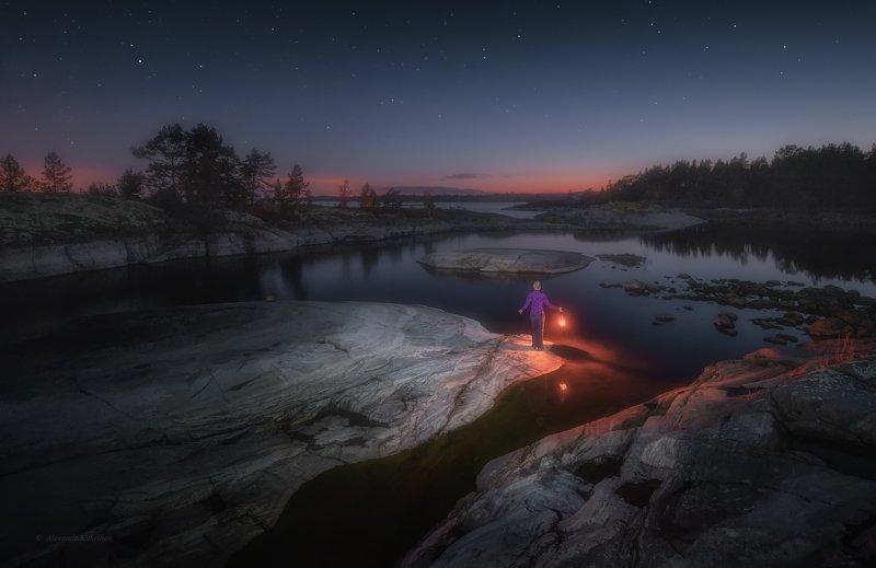 ладога, ночь, звёзды, пейзаж Девушка... фонарь... и Ладожская ночь...photo preview