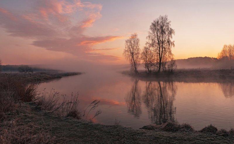 утро, свислочь, туман, иней, пейзаж Весенним утромphoto preview