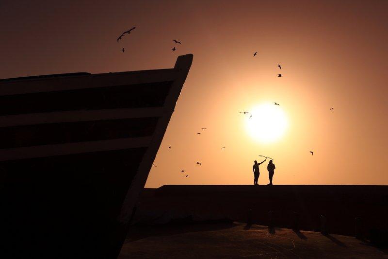 закат, порт, силуэт, тень, солнце ***photo preview