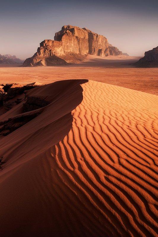 mountains, jordan, landscape, wadi rum, sunrise, desert, light, colors, winter, warm, tent, composition, horizon, sand Dry oceanphoto preview