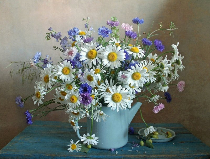 лето,  цветы, натюрморт, марина филатова Люблю ромашки с василькамиphoto preview
