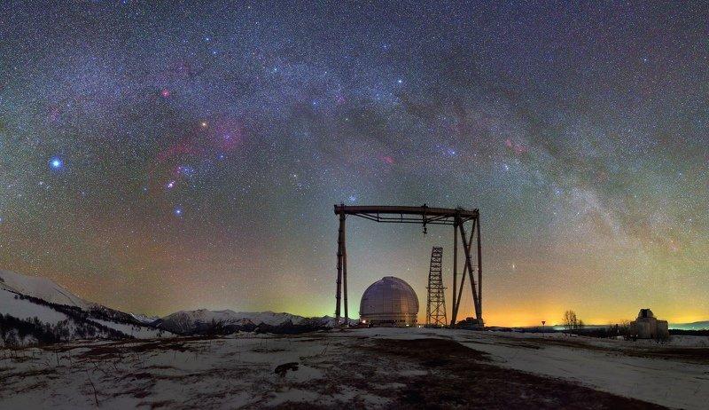 ночь звезды бта сао ночной пейзаж астрофотография млечный путь Водород на весеннем небеphoto preview