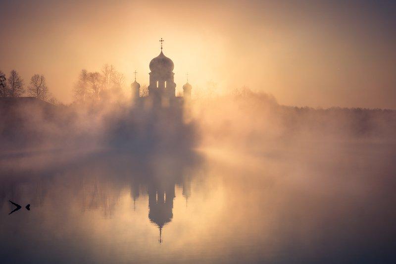 введенская, пейзаж, рассвет, церковь, озеро, туман Введенская, рассвет.photo preview