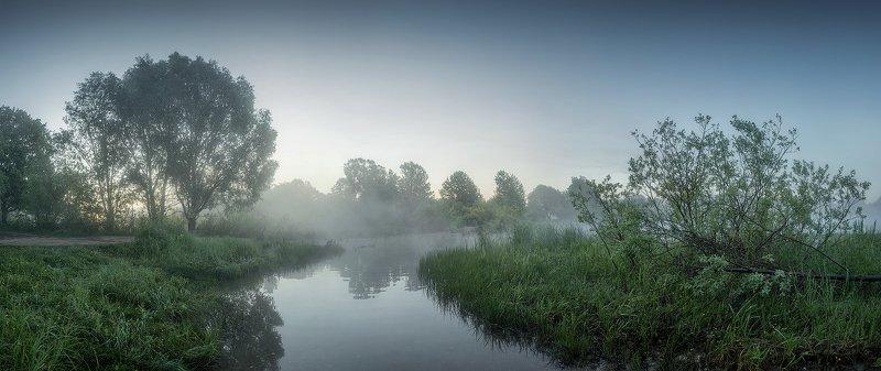 природа утро солнце туман озеро лето Утро на озереphoto preview