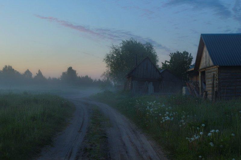 утро туман деревня околица рассвет Тихо утром в деревнеphoto preview