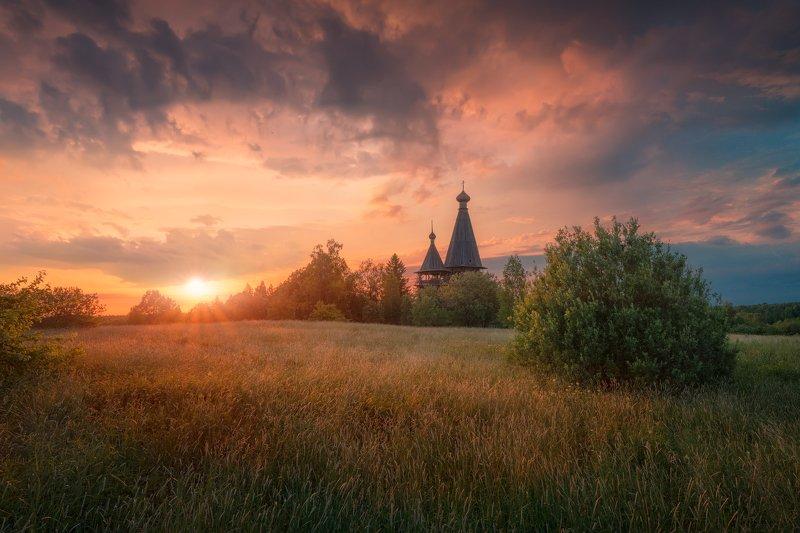вечер, лето, солнце, закат, церковь, погост, Вечернееphoto preview