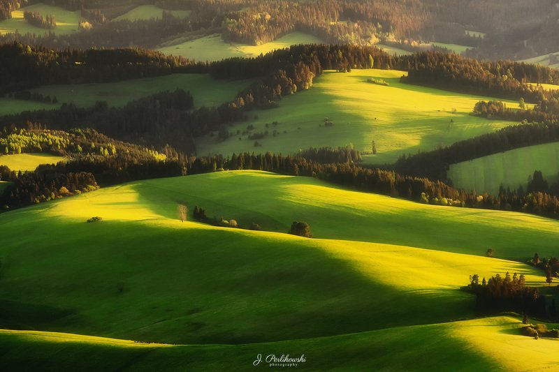 spring, fields, gold, mountains, hills, green, light, Spring fieldsphoto preview