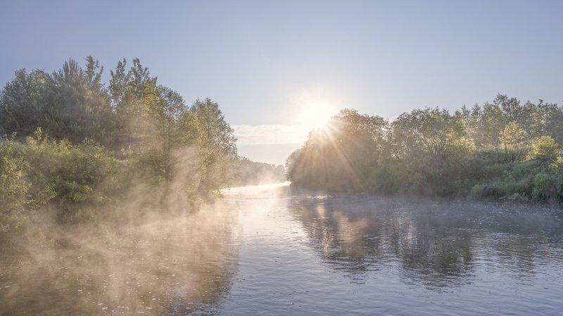 утро, туман, река, июнь Утро на реке Линда.photo preview