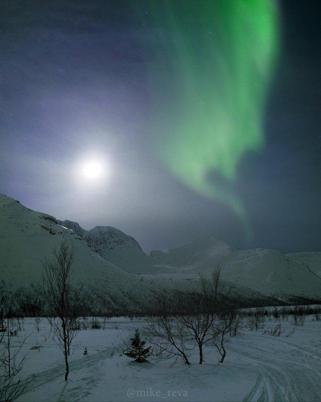 ночь звезды северное сияние ночной пейзаж астрофотография хибины кировск малый вудъявр Джинн Хибинphoto preview
