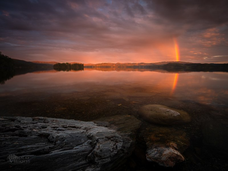 norway,norwegian,lake,sunset,rainbow,clouds,sky,reflections,mood,moody, Sunset mood, light nights in Norway.photo preview