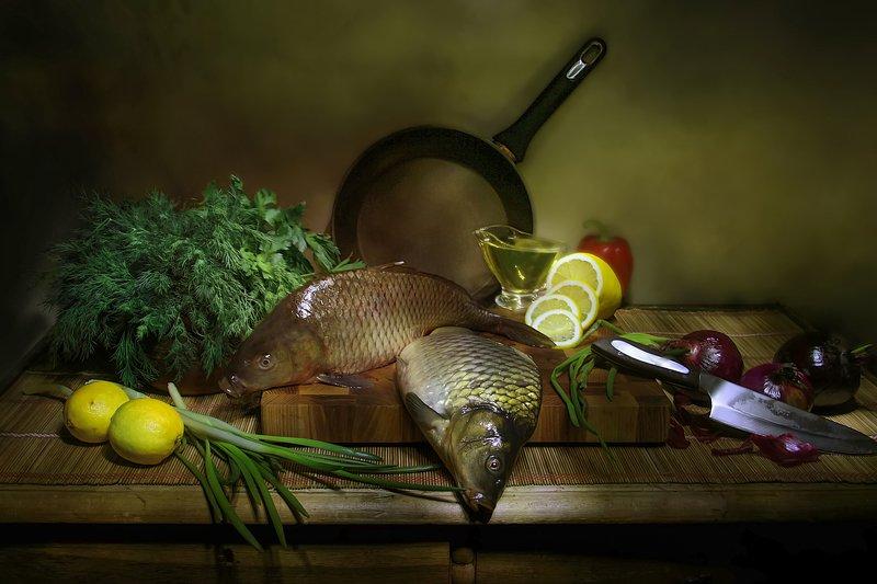 рыба, натюрморт А не пожарить ли рыбки? фото превью