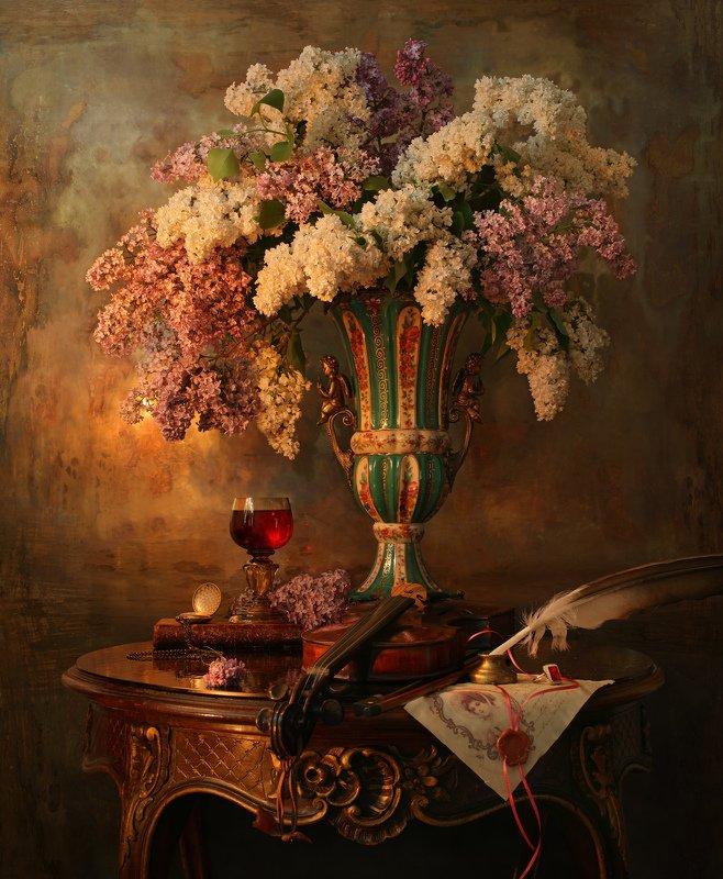 свет, натюрморт, скрипка, цветы, сирень, букет, музыка, девушка, скульптура Вечерний светphoto preview