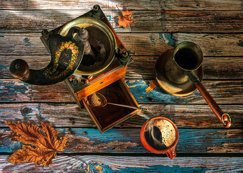 still life, натюрморт,    винтаж,   ретро, кофе, напиток, чашка кофе, кофемолка, джезва, вкусно, аромат, кофейный натюрмортphoto preview