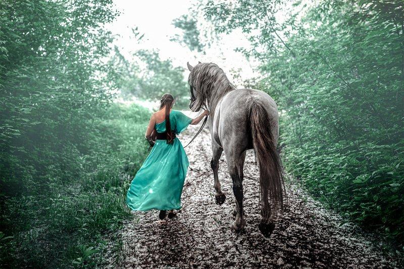 #туман #никон #девушка #конь Прогулка с Призракомphoto preview