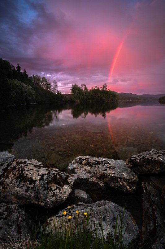 norway,nature,sunset,rainbow,springtime, Midnight rainbowphoto preview