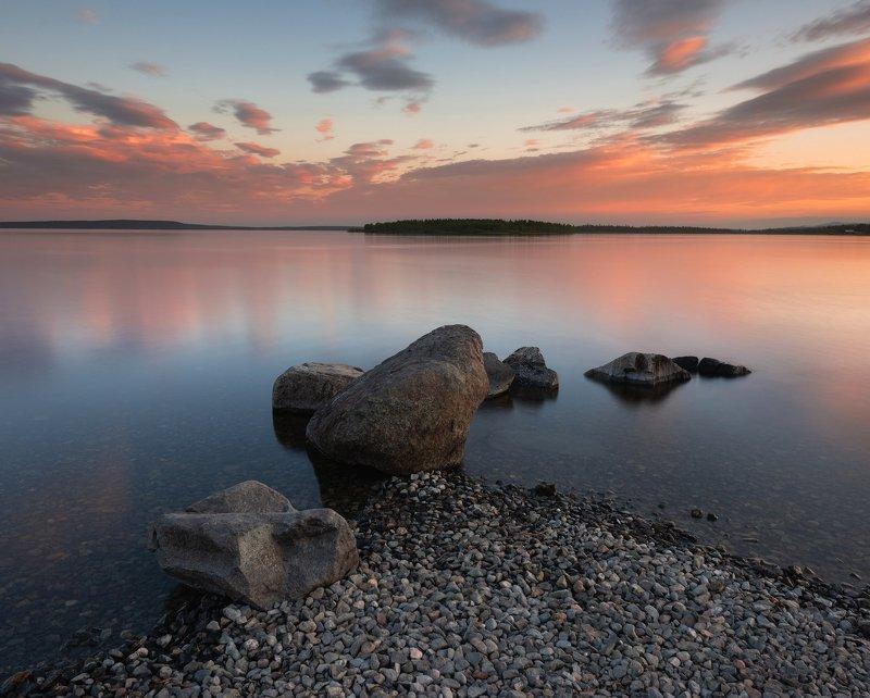 пейзаж,полярный день,север,россия,ночь,озеро,отражение,апатиты Тик-Губа фото превью