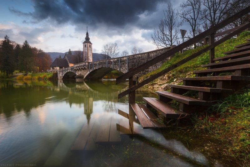 slovenia, landscape, autumn, bohinj, словения, осень, дождь, путешествия, озеро бохинь, церковь Дождливая пора на озере Бохинь.photo preview