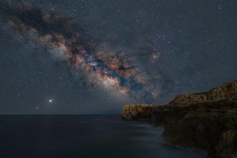 milky way, stars, sky, elephant rock, sea, syracuse, sicily, italy, jupiter, Saturn Milky way over Elephant Rock фото превью