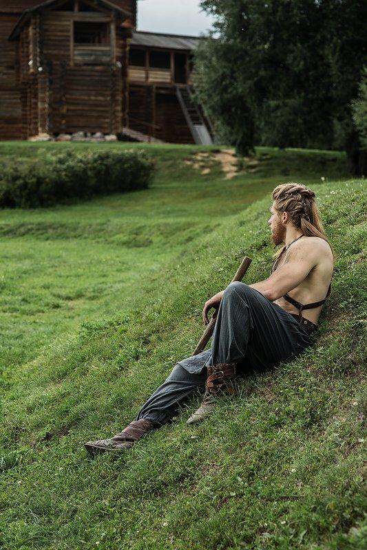 викинг, средневековье, косы, мужской портрет, мужчина, костюм Викингphoto preview