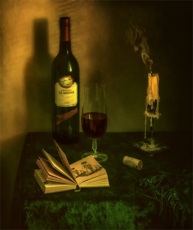 still life, натюрморт,    винтаж,  ретро, книга, вино, напиток, бутылка, алкоголь, свеча, дым, стилизация, натюрморт с книгой и бокалом винаphoto preview