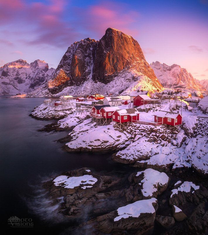 norway,reine,hamnoy,norwegian,sunrise,pink,colorful Sunrise on the northphoto preview