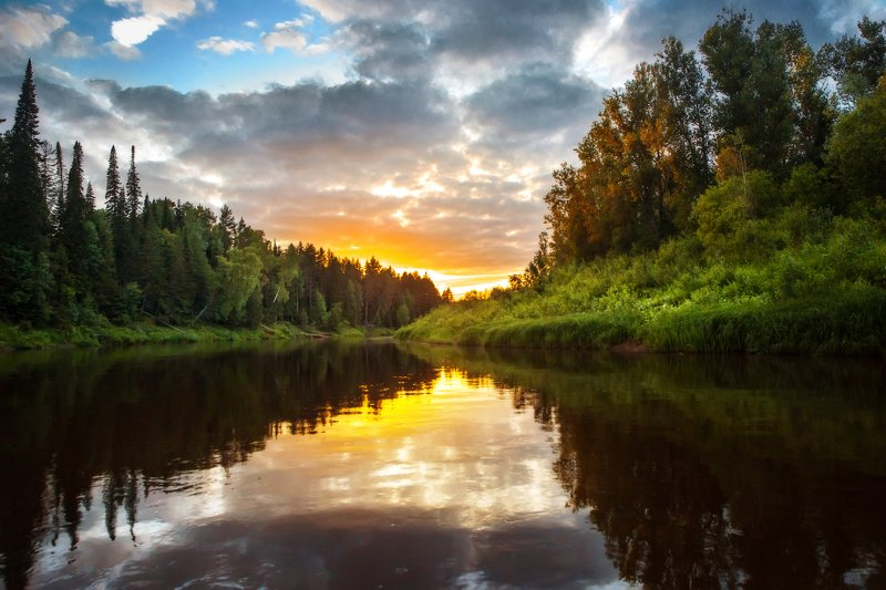 река, кильмезь, закат, отражение, вечер, яркий Река Кильмезьphoto preview