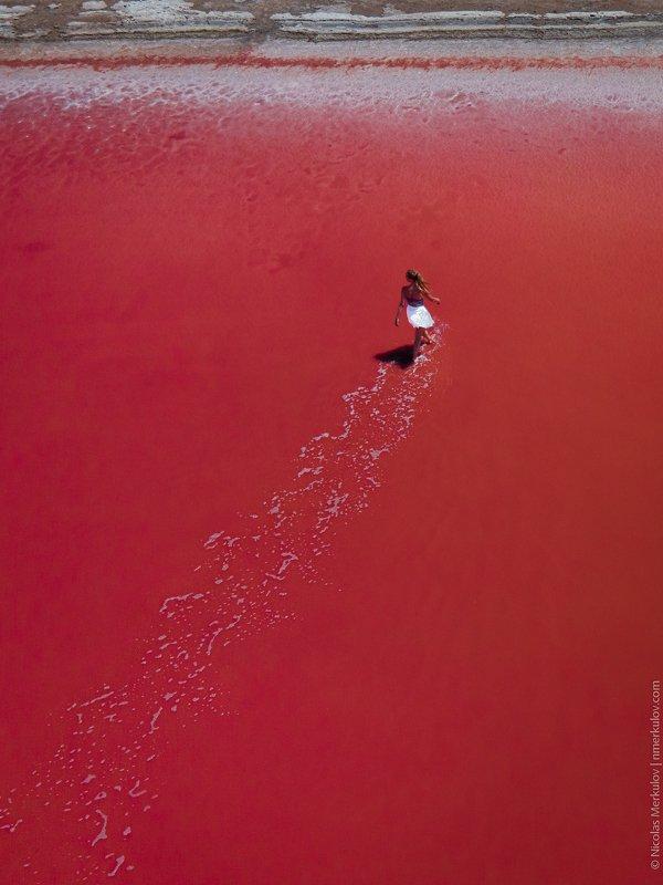 lake, red, red lake, dunaliella salina, landscape, people, woman, sunset, drone, drone photography, nmerkulov, nmerkulovphotography Красное Озеро / Red Lakephoto preview