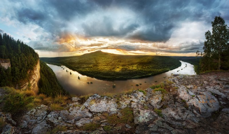 Урал, Вишера, Ветлан, закат, река, панорама Ветлан камень, вид на реку Вишера photo preview